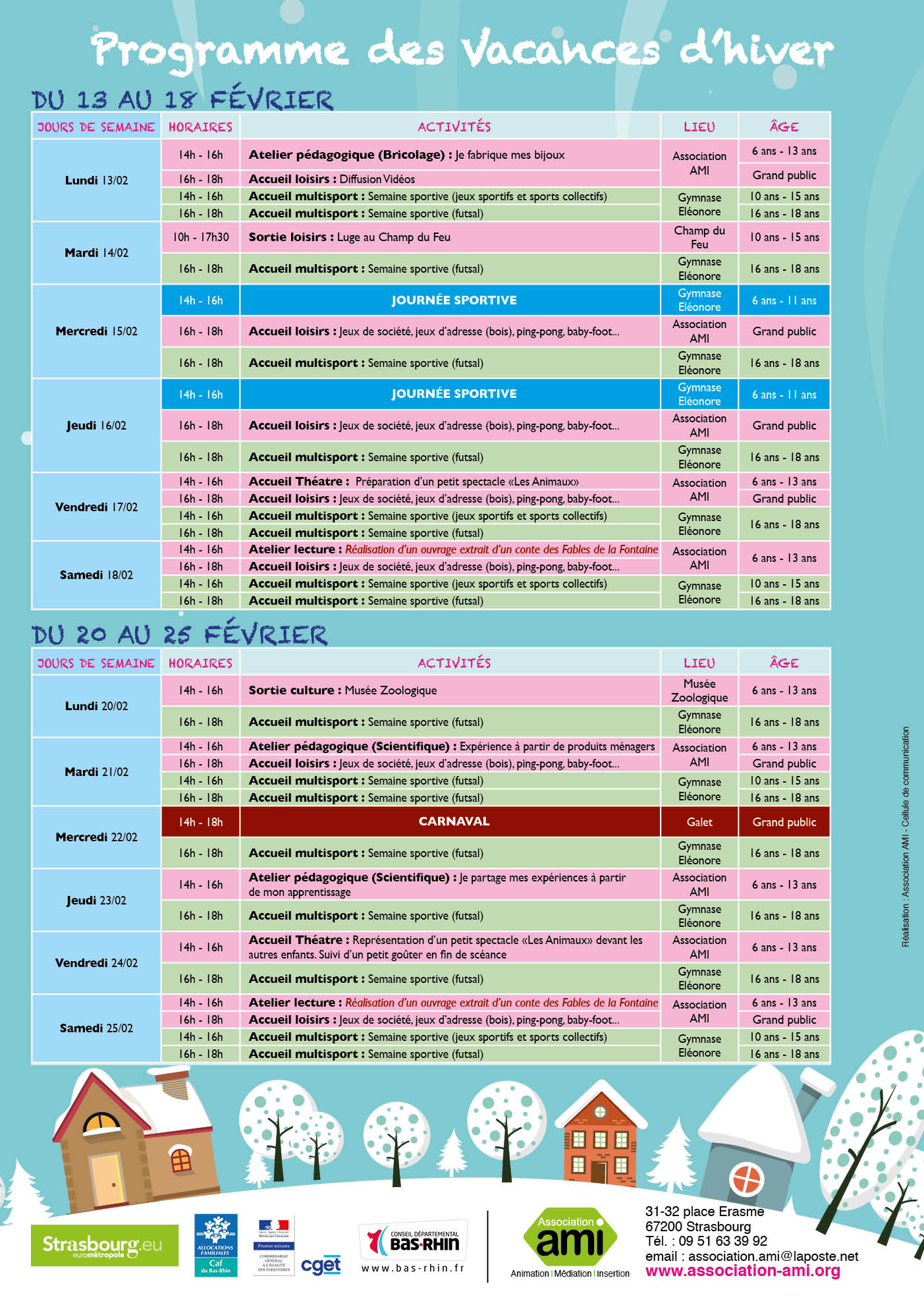 Programme des Vacances d'hiver