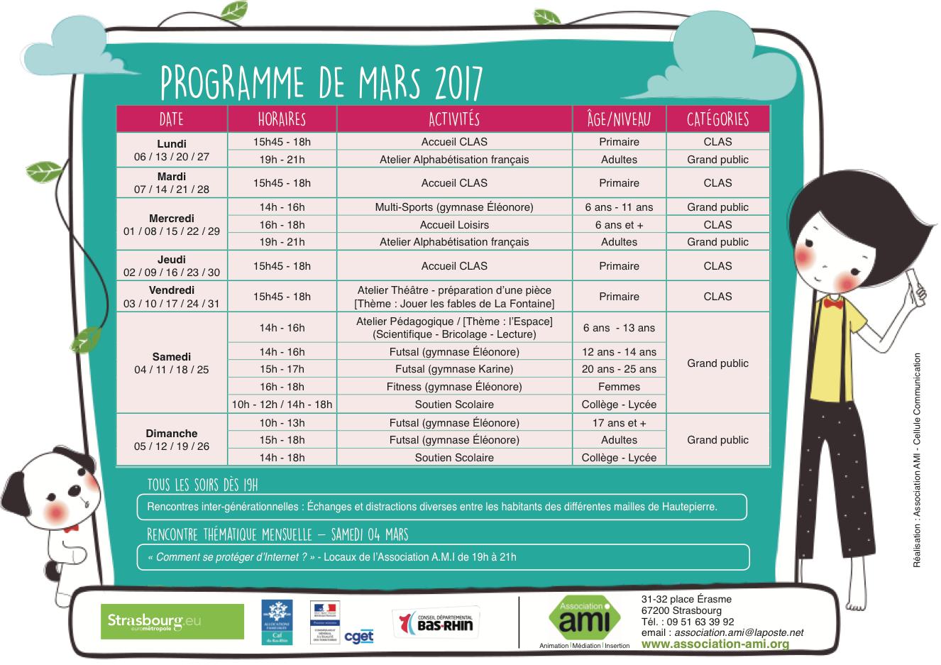 ⯑ Programme du mois de mars 2017