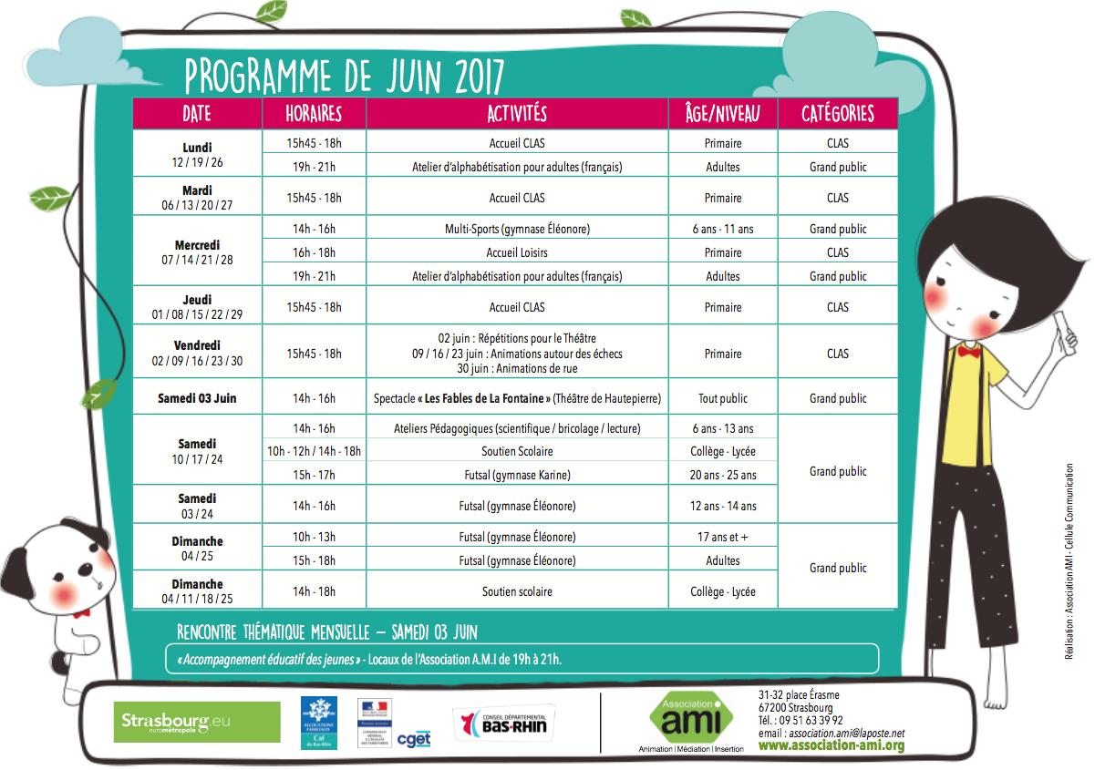 Programme du mois de juin 2017